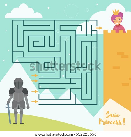Children's labyrinth. Vector. Cartoon. Isolated. Flat. Illustration for children. Princess and knight