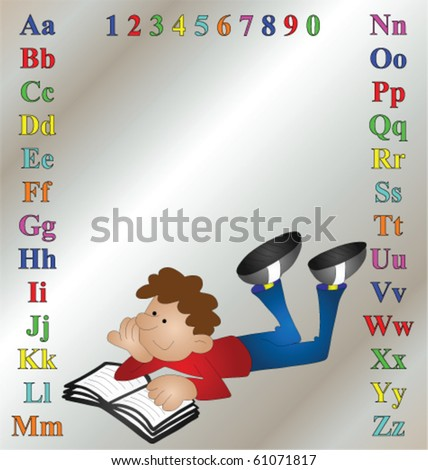 cartoon images of children reading. stock vector : Children's learning aid with cartoon boy reading