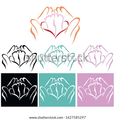 Children's legs in the palms. Colored icons for organizations and centers that specialize in giving birth to children. Also for hospitals and clinics that provide services for expectant mothers.