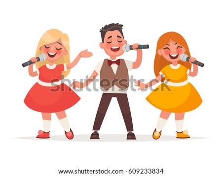Children's musical trio. A boy and a girls are singing a song on a white background. Vector illustration in cartoon style