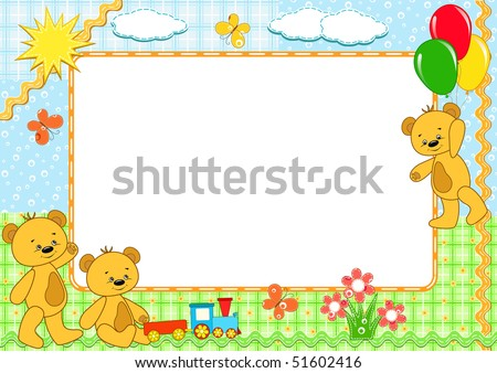 Children's photo framework. Bears. Handmade. Vector  illustration.