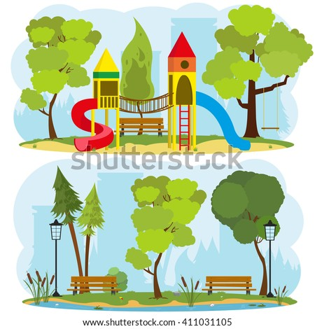children's playground in a city park. isolated images on the theme of outdoor recreation. vector. a children's playground in the park.