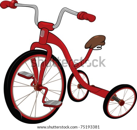 Children's red tricycle
