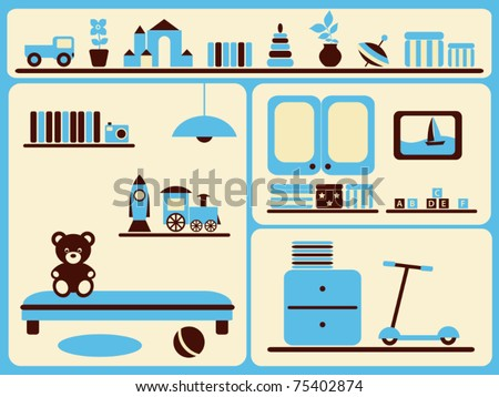 Children's room interior and objects set. Vector illustration.