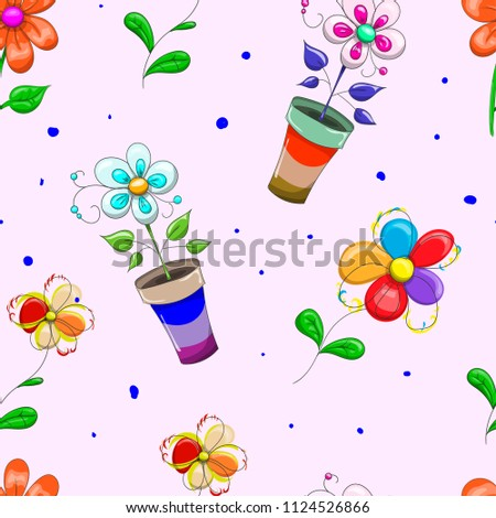 Children's seamless banner, on a pink background texture, wallpaper printing cloth. decorate to decorate vivid. flowers.