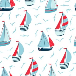 Children's seamless pattern with sailboats, yachts and seagulls on white background. Cute texture for kids room design, Wallpaper, textiles, wrapping paper, apparel. Vector illustration