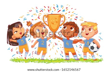 Children's soccer team hold gold cup. Funny cartoon character. Vector illustration. Isolated on white background