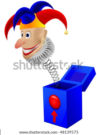 Children's toy the clown - a joker in a box with a spring in a vector isolated on a white background