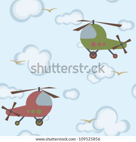 Children's veckor pattern with green amd red  helicopters