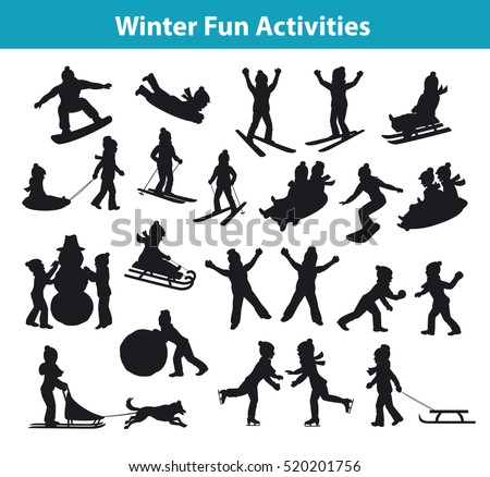 Children's Winter fun activities in ice and snow silhouette set collection, kids playing snowballs, making snowman, sledding, skating, snowboarding, skiing