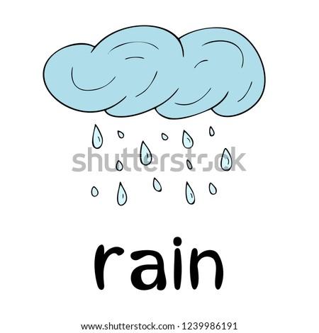 Children`s word card, learning, vocabulary, education, english language, cartoon vector cloud, black outline, line art, rain