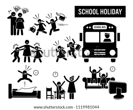 Children school holiday. Stick figure pictogram depicts school children coming back from school holiday. The parent are sad, but the kids are happy. Icon set show student or pupil running back home.