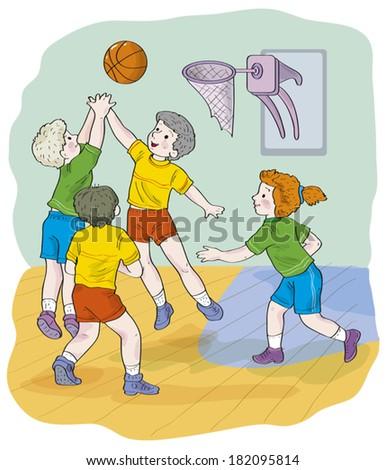 Children, schoolchildren: three boys and one girl play basketball. Illustration done in cartoon style.