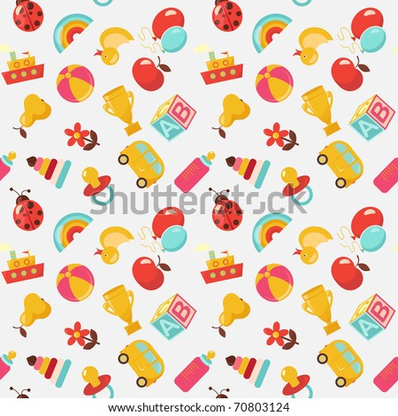 Children seamless vector pattern