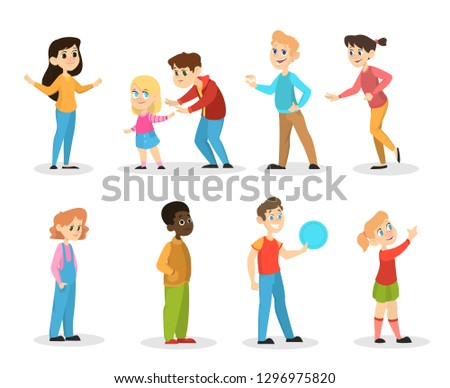 Children set. Girl and boy standing and smiling. Group of kids in different position. Vector illustration in cartoon style #1296975820