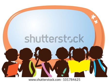children silhouettes education banner for school, learning and others