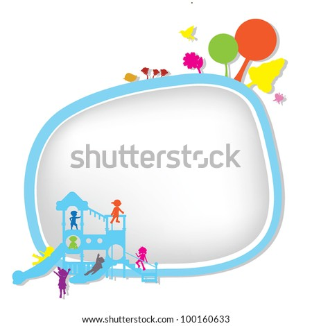 children silhouettes playground background for banners, background and others