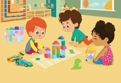 Children sit in circle and play with toys in the kindergarten classroom, play with wooden toy blocks, cars, doll and laugh. Learning through entertainment concept. Vector illustration for flyer, websi