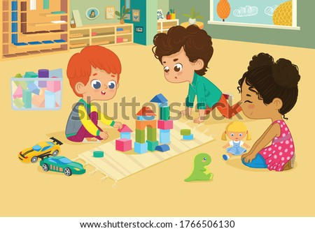 Children sit in circle and play with toys in the kindergarten classroom, play with wooden toy blocks, cars, doll and laugh. Learning through entertainment concept. Vector illustration for flyer, websi Stockfoto ©