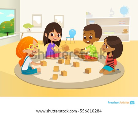 Children sit in circle on round carpet in kindergarten classroom, play with wooden toy blocks and laugh. Learning through entertainment concept. Vector illustration for flyer, website, poster, banner.