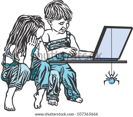 Children sitting in front of a computer.