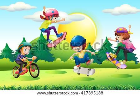 children skateboarding and