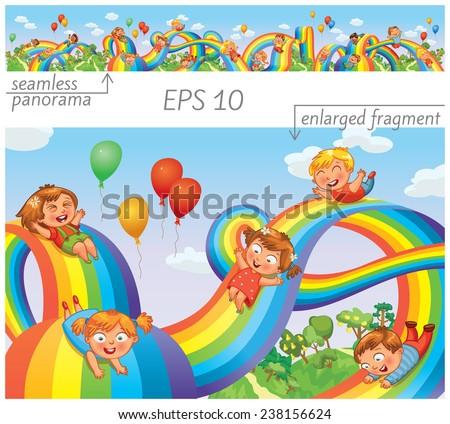 children slide down on a
