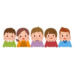 Children smile lie down