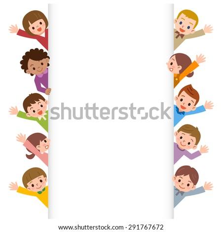 children smile waving