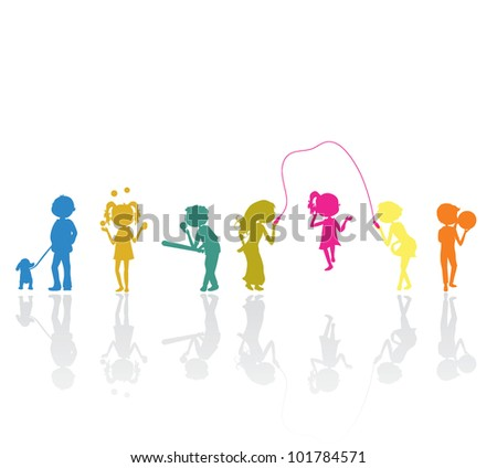 children sports silhouettes active for fun, activity and leisure