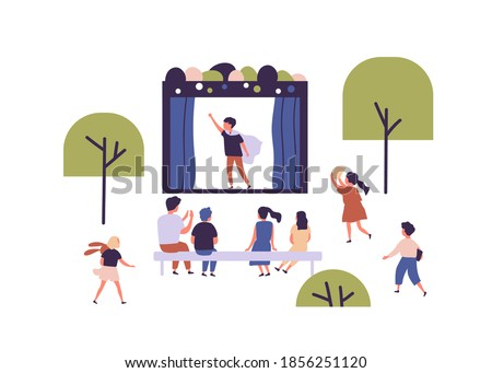 Children street amateur theater with actor performing play in front of audience. Outdoor theatrical performance at kids' theatre. Childish open air event. Flat vector illustration on white background