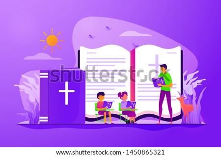 Children studying christianity. Teacher and kids in christian camp reading bible. Religious summer camp, faith based camp, religious education concept. Vector isolated concept creative illustration