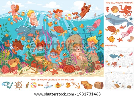 Children swim underwater with marine life. Kids snorkeling. Sport. Find all animals. Find 10 hidden objects in the picture. Puzzle Hidden Items. Funny cartoon character. Vector illustration. Set stock photo