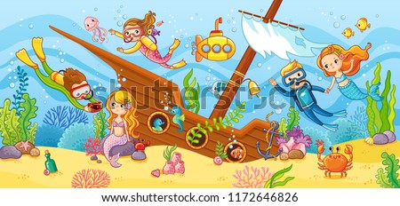 Children swim with scuba diving in the wreck. Cute vector illustration with a mermaid on a sea theme.