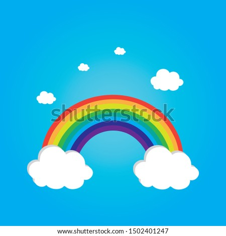 children tappet of rainbow, sky, small puffy white clouds, sweet, baby room decoration wallpaper, vector eps Сток-фото ©