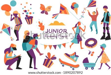 Children, teenagers, childhood party symbols Foto stock ©