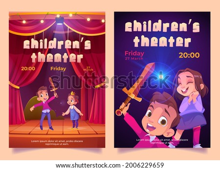 Children theater posters with kids play performance on stage with red curtains. Vector invitation flyers with cartoon illustration of boy and girl theatre actors with sword and crown