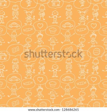 Children thinking seamless pattern background