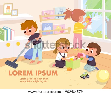 Children tidy up playroom doing household chores. Boy vacuuming, cleaning floor with vacuum cleaner. Girl cleaning washing window with rag and cleanser spray. Kids put toys back in the toybox.