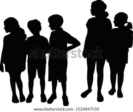 children together black color silhouette vector