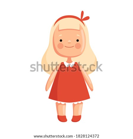 Children toy doll in a red dress with blond hair Stock photo ©