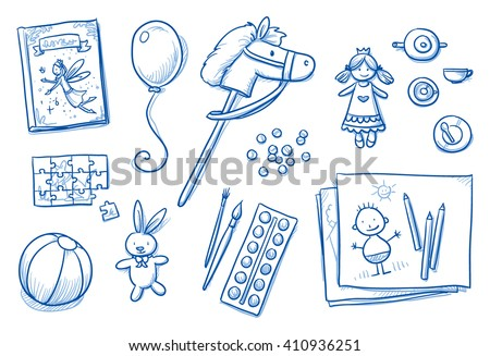 children toys icons flat lay