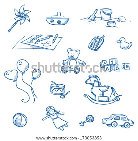Children toys icons, rocking horse, balloons, doll, car, drum, boat, teddy, cell phone, duckling  hand drawn sketch - part 1