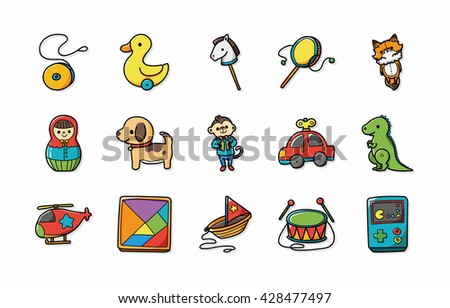children toys icons set eps10