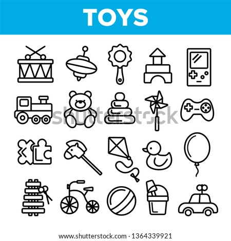 Children Toys Linear Vector Icons Set. Toys Thin Line Contour Symbols Pack. Kids Entertainment Pictograms Collection. Baubles, Playthings. Plush Teddy Bear, Car, Ball, Puzzle Outline Illustrations
