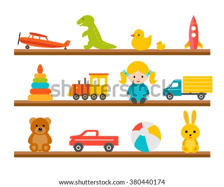 Children toys on wooden shelves, icons set isolated on white background