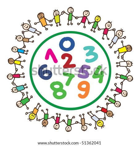 Children united around colorful numbers holding hands
