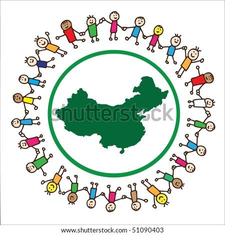 Children Holding Hands Vector. hair children holding hands