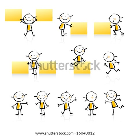 children vector hand drawn style educational icon set. Cute girl character series, grouped and layered for easy editing. See similar in my portfolio