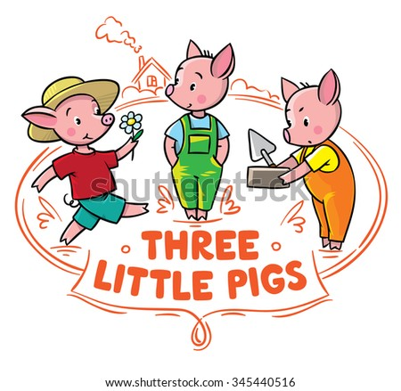 Children vector illustration for poster or card of funny piglets from fairy tale Three Little Pigs Zdjęcia stock ©